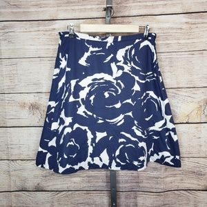J.Crew Navy & White Abstract Floral Cotton Skirt